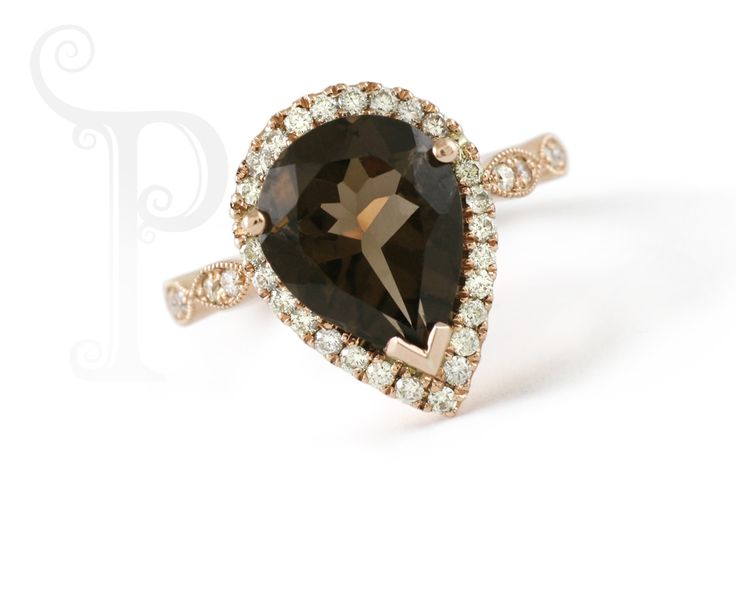Handmade Yellow Gold Fancy Dress ring, Set With Pear Cut Smokey Quartz with a Halo Of Small round Brilliant Cut Diamonds