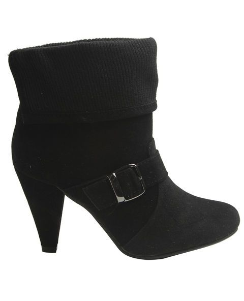 Knit Foldover Heeled Bootie - Wet Seal #boots #heels #black