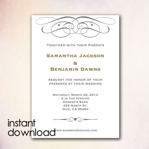 24 best DIY Wedding Invitation Templates - Instant Download images - invitation word template