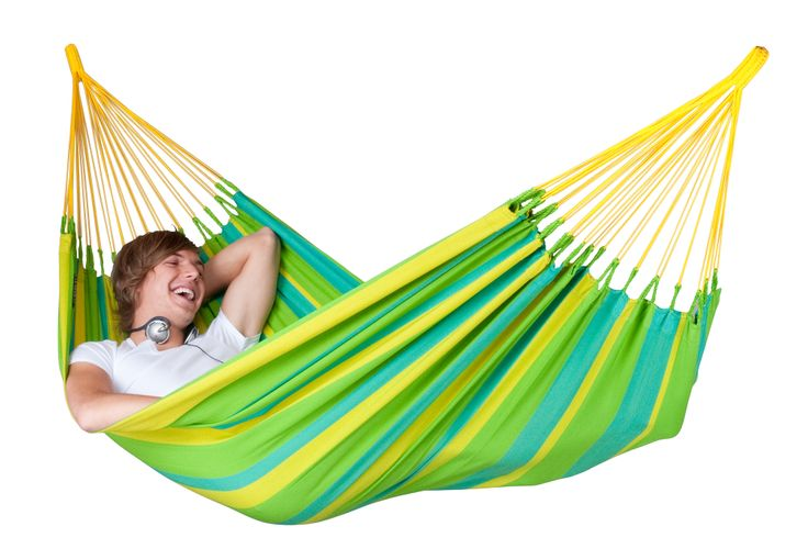 #LA SIESTA #single #hammock Sonrisa can be left# outside all #summer! Sonrisa is made of HamacTex® This #fibre is #weatherproof, #fast-drying and #surprisingly similar to #cotton in look and touch.