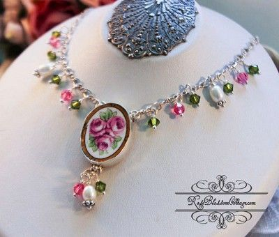 Broken China Jewelry Oval Roses Broken China Jewelry Drop Necklace