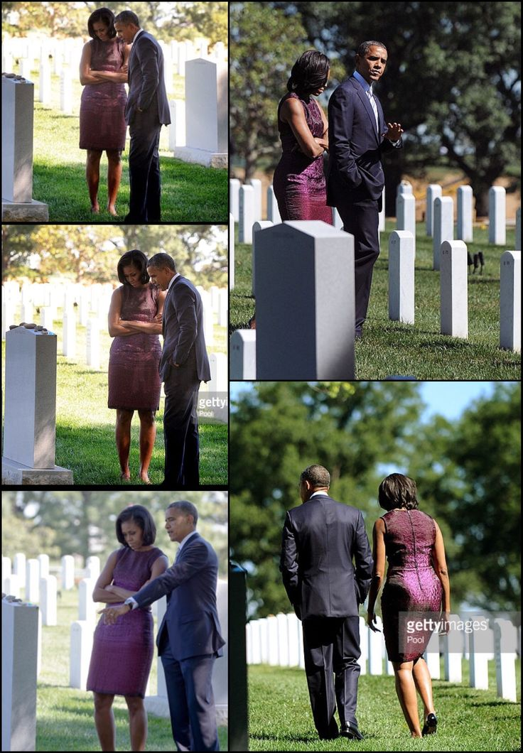 #44thPresident #BarackObama And #FirstLady #MichelleObama Visit Arlington National Cemetery On 9/11 AnniversarySeptember 11, 2012  U.S. President Barack Obama and first lady Michelle Obama make a stop at Section 60 to mark the eleventh anniversary of the 9/11 terrorist attacks on September 11, 2012 at Arlington National Cemetery in Arlington, Virginia. The nation is commemorating the eleventh anniversary of the September 11, 2001
