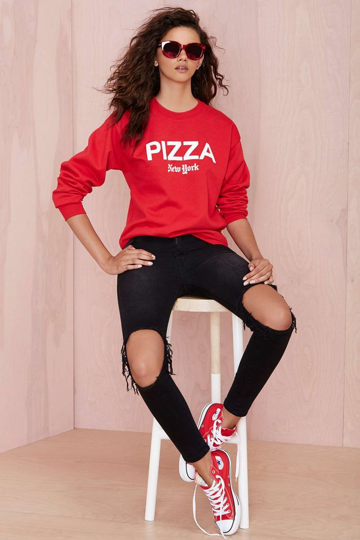 Who wants pizza? Petals and Peacocks Pizza NY Sweatshirt