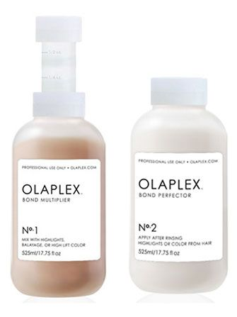 """Basically, when you put chemicals in the hair — from coloring, or peroxide developers, or straightening treatments — the sulfur bonds split, and they then become sulfur hydrogen."""" This process can eat away at the hair proteins, which causes damage. Olaplex prevents the splitting from happening. In short, """"It links [together] broken bonds in the hair caused by chemical processes...preventing them from damage."""""""