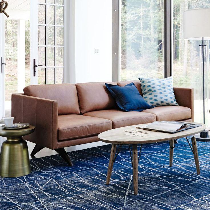 Brooklyn Leather Sofa - Sienna (206 cm), West Elm