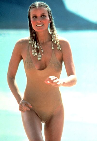 "Bo Derek: ""10"", 1979.  ""Her perfect score has never been beaten,"" Rubenstein said of Bo Derek's appearance in a nude maillot in the 1979 movie 10. ""She may have been the best thing to happen to sales of the one-piece,"" he added.  Courtesy Everett Collection"