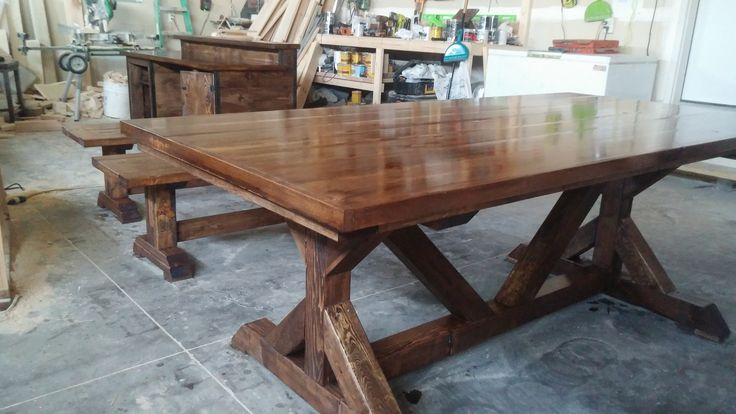 restoration hardware trestle style look alike table done with a pine