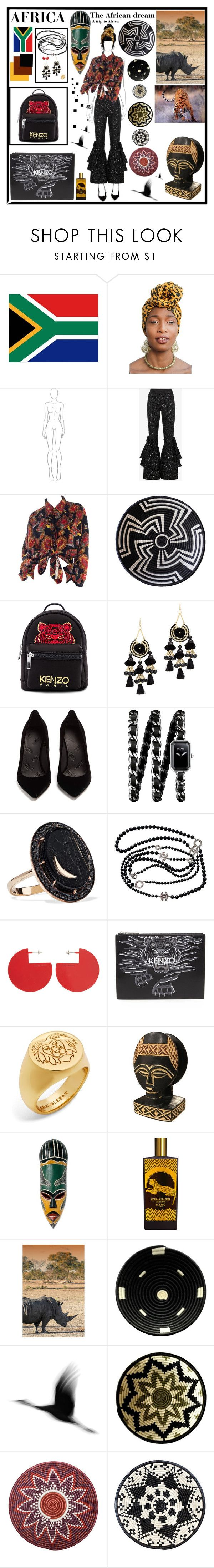 """""""Africa trip"""" by meganlawrence23 ❤ liked on Polyvore featuring Ashish, Indego Africa, Kenzo, Area Stars, Maison Margiela, Chanel, Andrea Fohrman, Isabel Marant, Memo Paris and All Across Africa"""