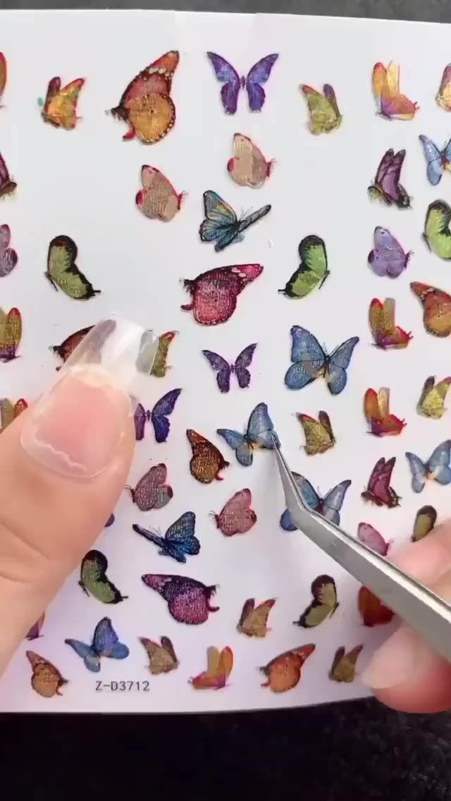 Butterfly stickers and twotone magic mirror powder