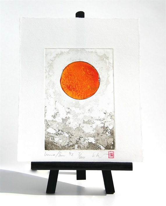 Red Orange Sun Sol Luna Moon   Original Etching by freshandsilly, $30.00