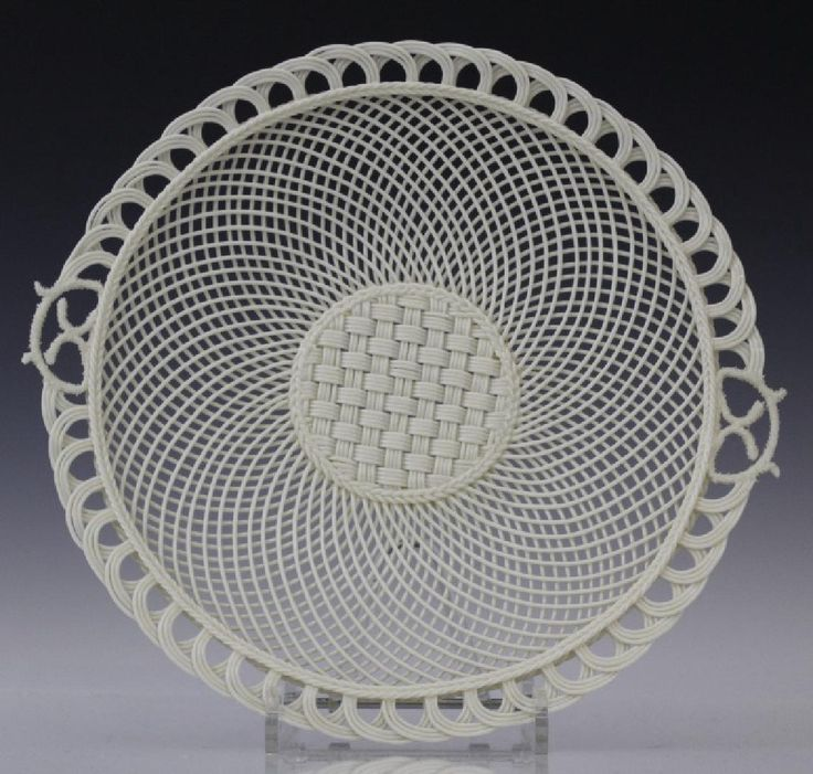 Lot: Irish Belleek Porcelain Woven Lattice Basket Tray Plate, Lot Number: 0330, Starting Bid: $50, Auctioneer: Hill Auction Gallery, Auction: Spring Into Auction 2017, Date: March 27th, 2017 MDT