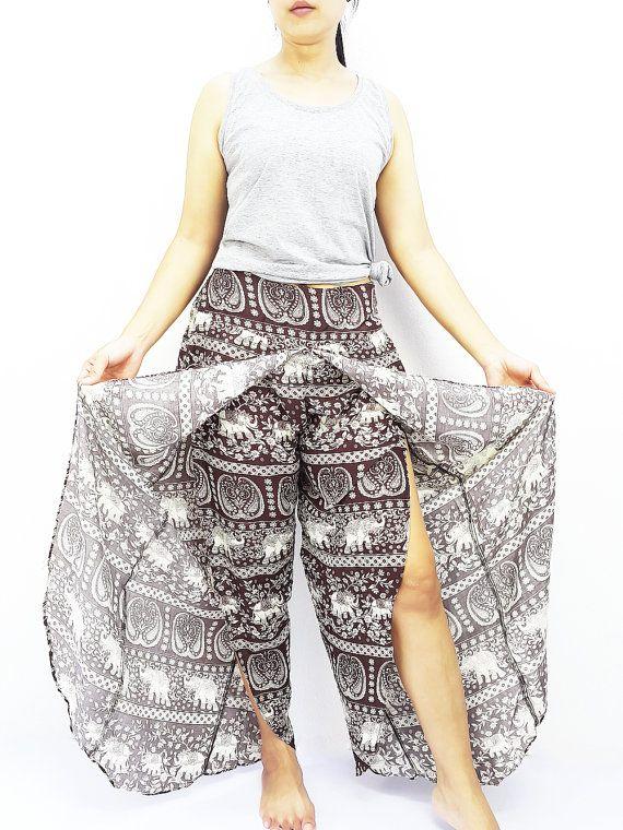 SOP9 Mujeres moda Pantalones tailandeses pantalón Maxi
