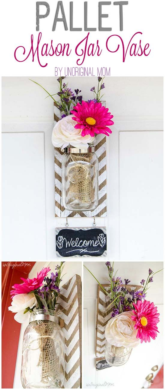 How to make a pallet mounted mason jar vase - great step by step tutorial with photos! | unOriginalMom.com | #palletprojects #diy #trendy #chalkboard
