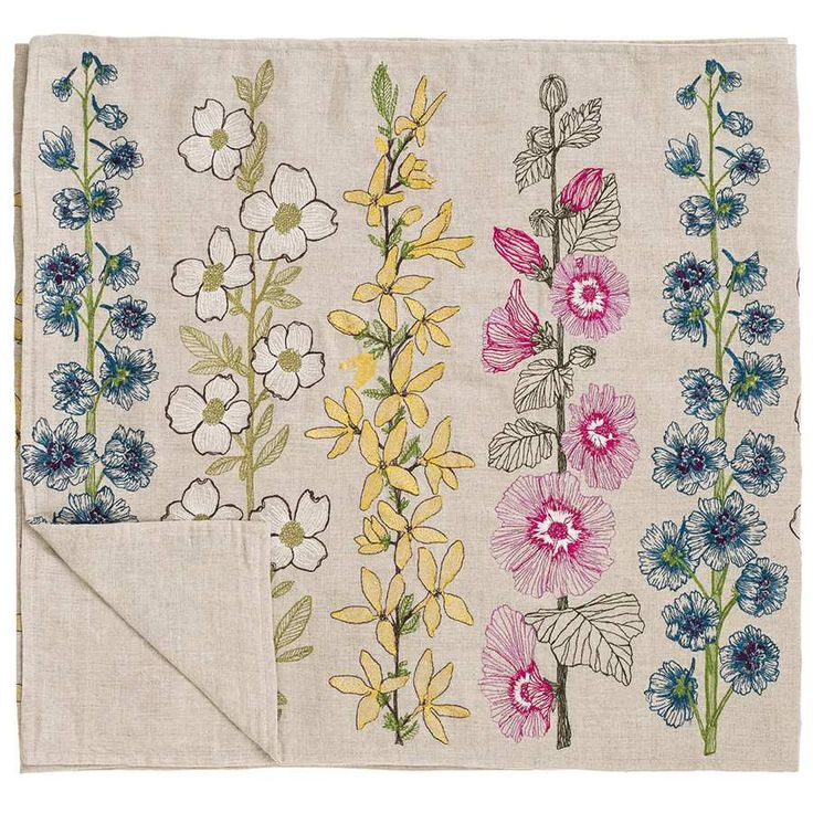 Coral tusk flowers table runner embroidery