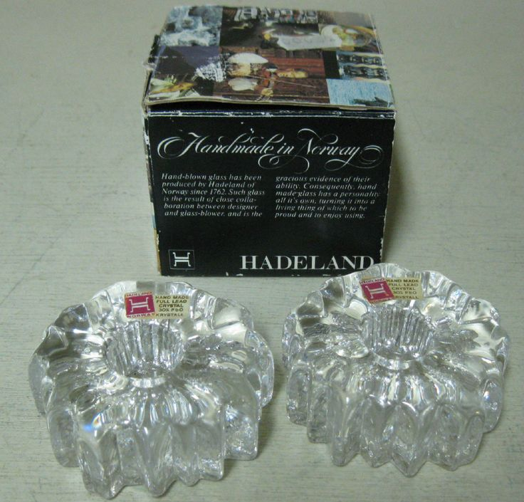 Collectible 2 Hadeland Norway Nautilus Hand Blown Crystal Candle Holders | eBay