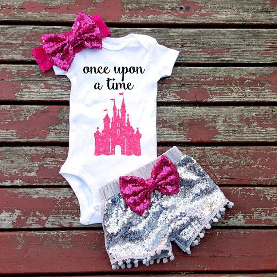 Once Upon A Time Fairytale Baby Girl Onesie, Princess, Pink, Glitter, Castle…