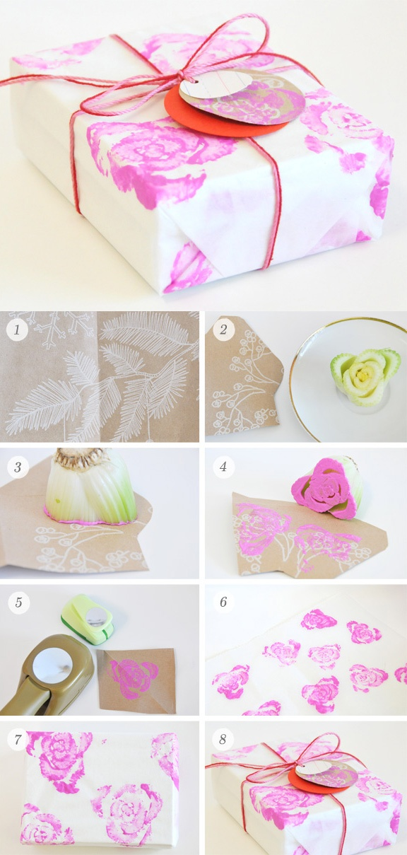DIY - Designing your own Gift Wrap & Tags using a cut celery stalk base. Full Step-by-Step Tutorial.