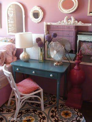 tablecloth floor mat: Idea, Floors, Area Rugs, Colors, Desks, Tablecloths, Style File, Girls Rooms, Diy Rugs