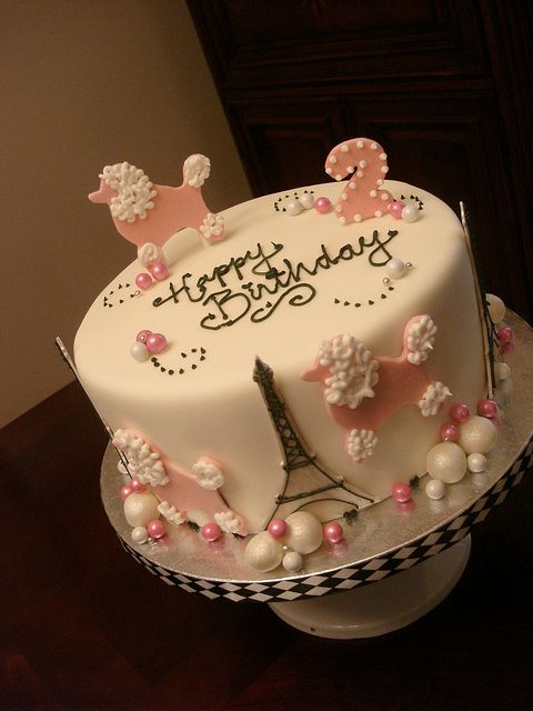 Pink Poodles in Paris Birthday Cake