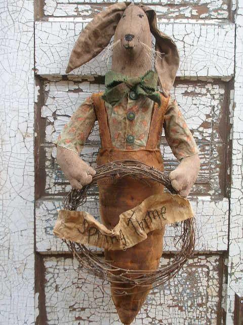 Primitive Carrot Rabbit Doll Pattern SPPO by stitchinsewprim, $12.00