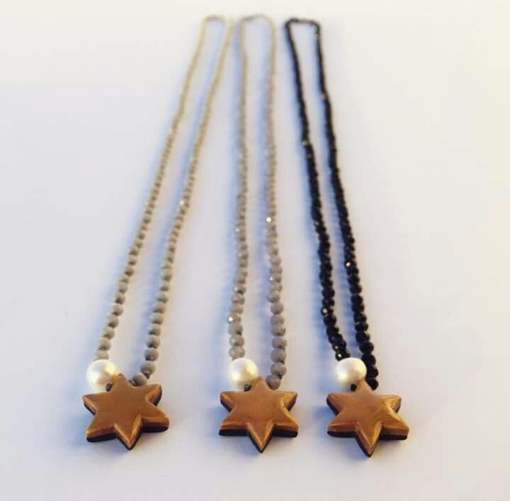 Handmade star necklaces by L_L.♡ #handmade #star#necklaces #design #gold #polymer#clay#polymerclay #pearl #crystal #beads#lightgrey#grey #black#calliopil_l #L_L♡#greekdesigners #jewelrydesign#instajewelry