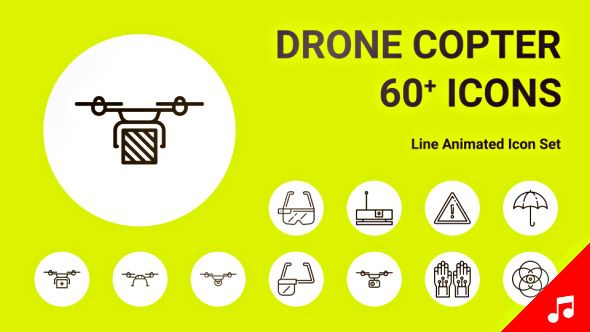 Drone Copter Helicopter Fly Technology Icon Set - Line Animated Icons