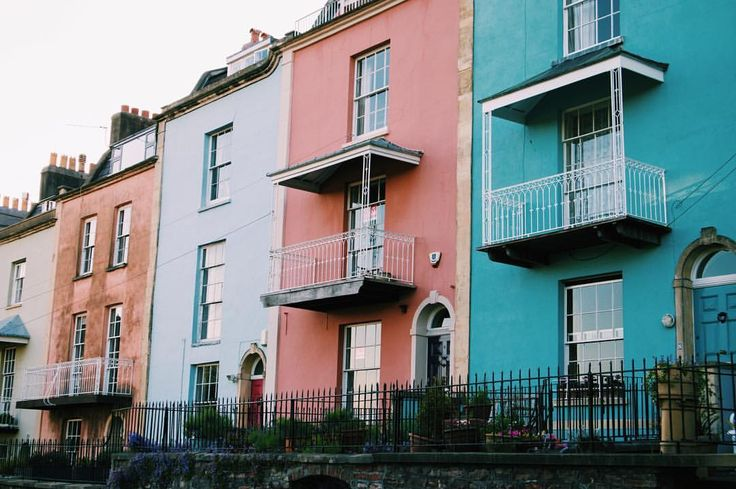 Colourful houses in Freeland Place, Bristol