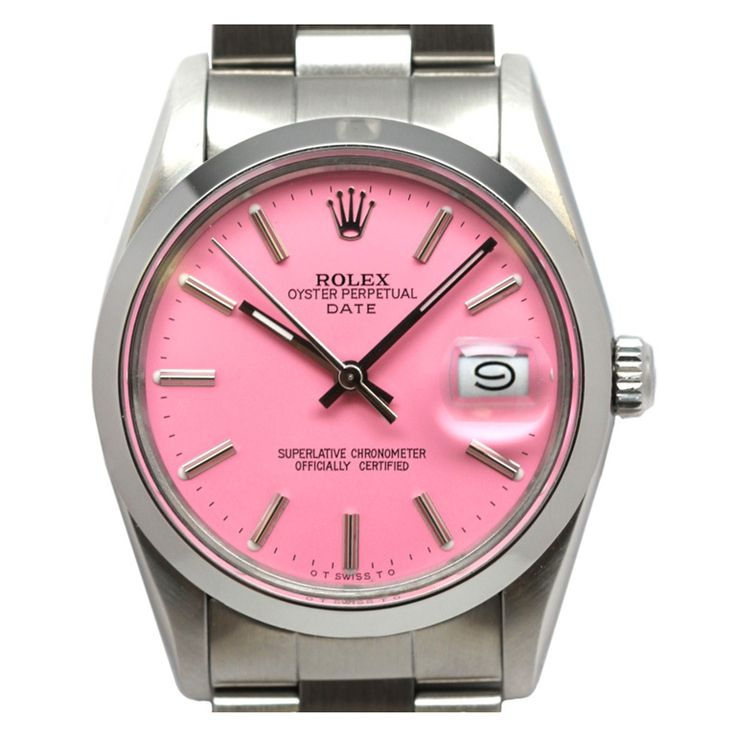 "Rolex Steel Oyster Perpetual Date custom ""Peppermint Stick"" Dial"