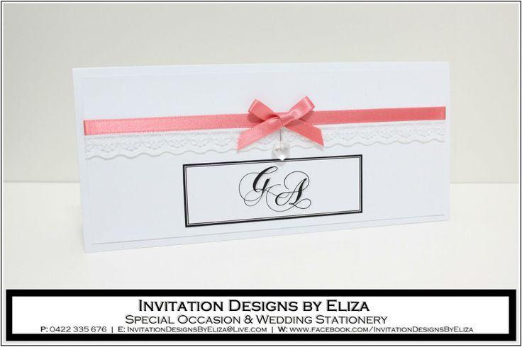 Invitation Design {Wedding} Coral,Black & White Theme www.facebook.com/InvitationDesignsByEliza