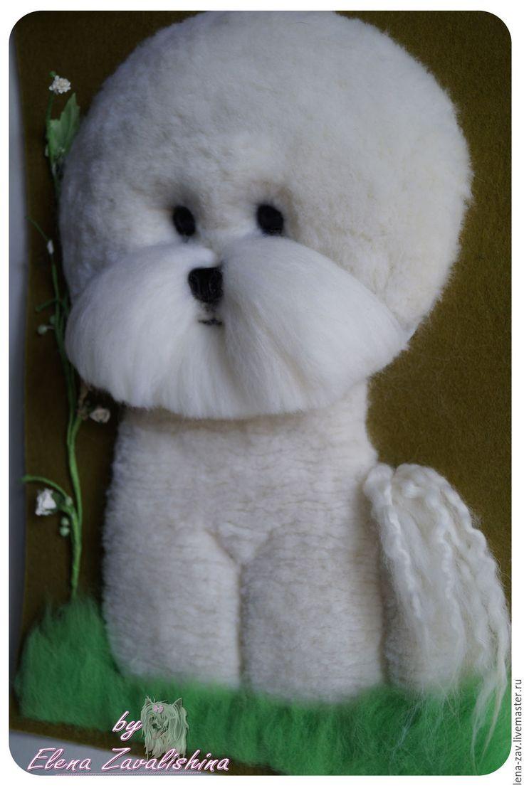 Купить Панно с бишон фризе - белый, бишон, бишон фризе, панно собака, Валяние