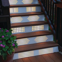 I would pick just one design and repeat it. Artistic deck stairs
