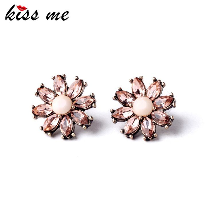 New Item Design Women Simple Crystal Flower Joker Costume Earrings