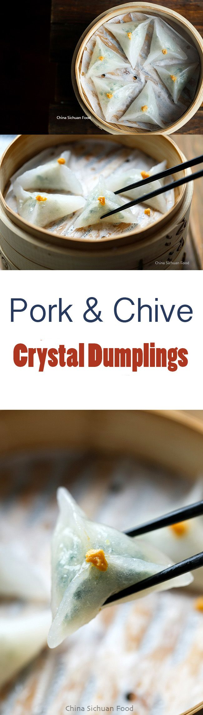 Pork and Chive Crystal Dumplings | ChinaSichuanFood.com