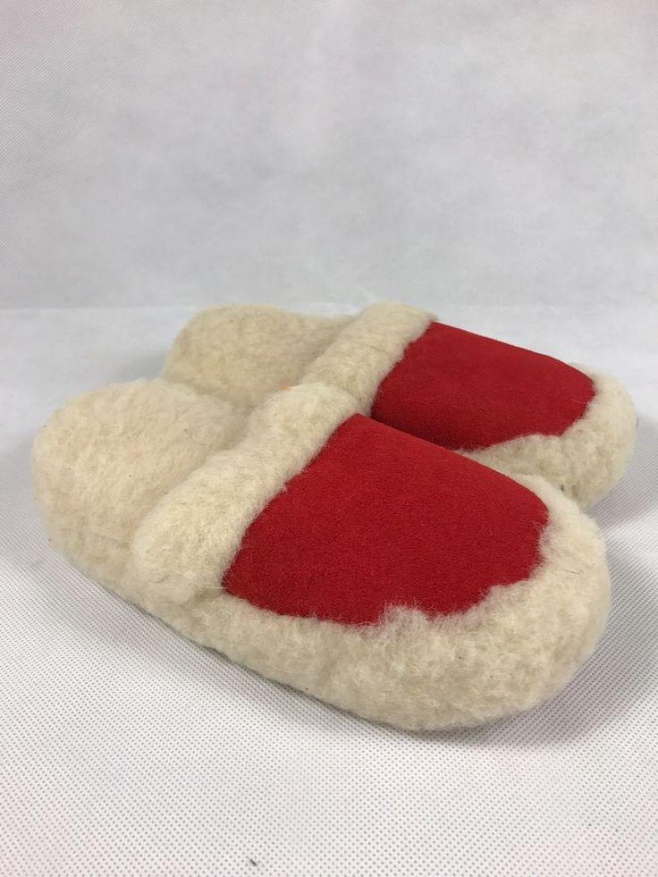 100% Lammfell Schafwolle Hausschuhe Woll Pantoletten Damen Gr. 38 Neu Weiß Rot