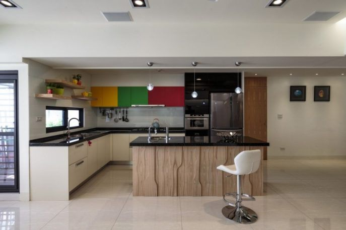 Kitchen:Contemporary Kitchen Cabinets Selection For Sophisticated Kitchen Kitchen Design Ideas With Colorful Kitchen Cabinet Pendant Lamp White Kitchen Stool Kitchen Island With Black Countertop Curved Stainless Steel Faucet Kitchen Units Charlotte Nc Apartments