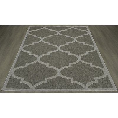 "Winston Porter Emma Morroccan Trellis Power Loom Dark Gray Indoor/Outdoor Area Rug Rug Size: 2'7"" X 7'0"""