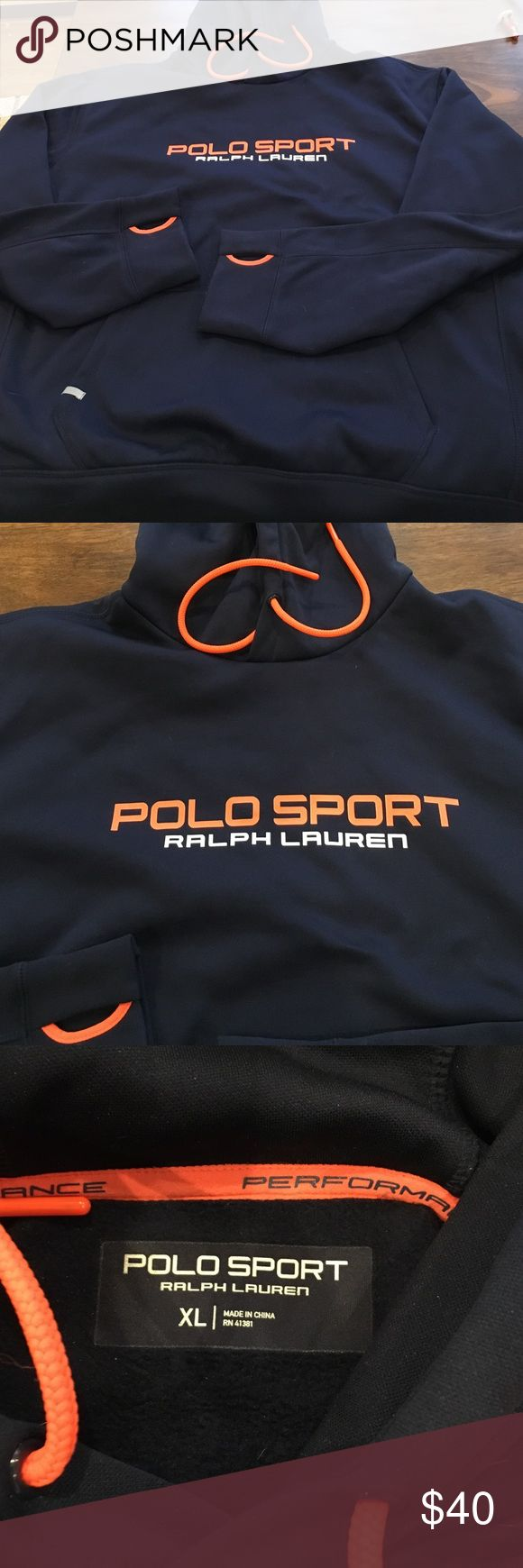 Polo sport navy hoodie In brand new condition. Worn once to try it on. Less than 6 months old. Holes in sleeves for thumbs. Drawstring hood. Size XL Ralph Lauren Sweaters Crewneck