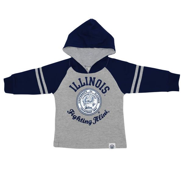 Illinois Fighting Illini Infant Raglan Pullover Hoodie – Gray - $22.99