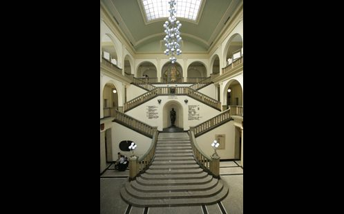 www.PAiKZ.com Design chandelier and candelabras to the Main Hall at the  Academy of Mining and Metallurgy Cracow Poland