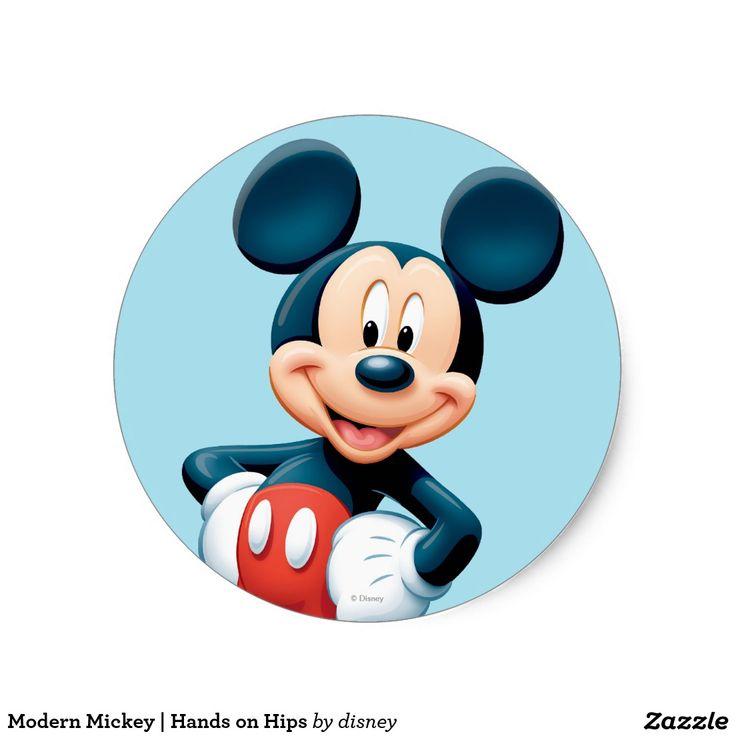 Modern mickey hands on hips classic round sticker