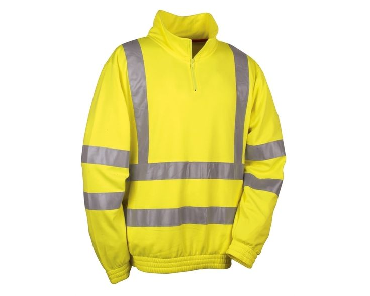 Be safe & seen in this Cofra Route Quarter Zip High Vis Sweatshirt. Featuring horizontal and vertical 3M reflex stripes, a collar zip, elastic wrists and bottom for a comfortable fit. Features a wide pocket with side zip.