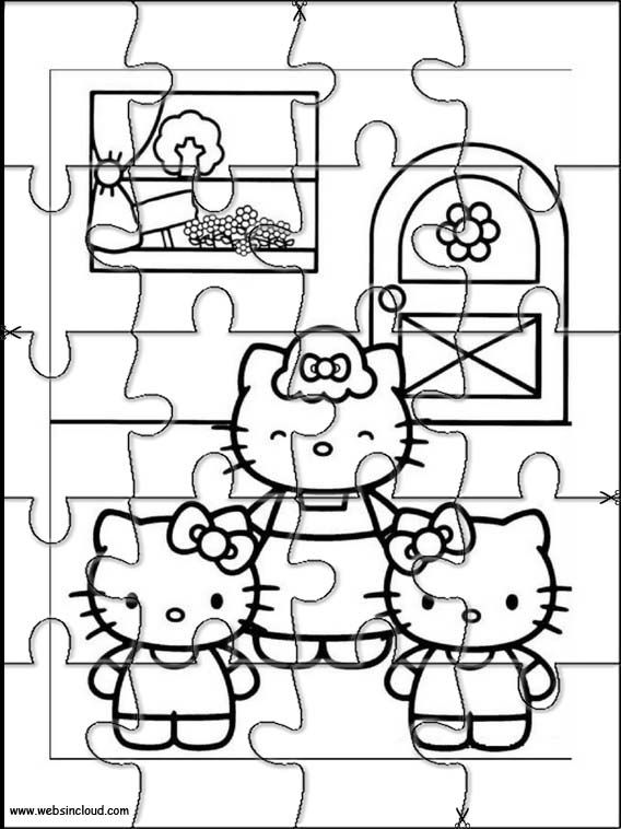 Printable jigsaw puzzles to cut out for kids Hello Kitty
