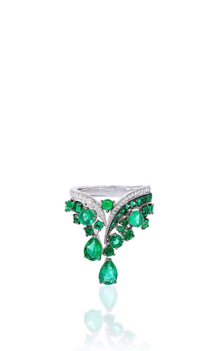 Vanleles X Gemfields V Shaped Emerald Ring by VANLELES  for Preorder on Moda Operandi