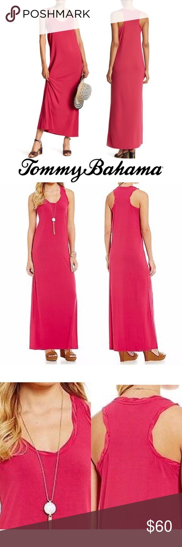 Tambour Silk Trimmed Racerback Maxi Dress New with tags, Tommy Bahama breezy 'Tambour' summer Maxi dress.  Gorgeous fuschia color called 'Pink Papaya.'  Scoopneck and Racerback trimmed in 100% silk. Retails for $148.  Versatile and easy to wear.  Would be great poolside, beachside, on vacation or simply walking around town.  Ships next day. Tommy Bahama Dresses Maxi