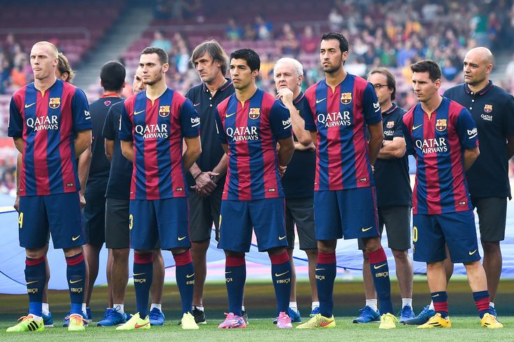 (L-R) Jeremy Mathieu, Thomas Vermaelen, Luis Suarez, Sergio Busquets and Lionel Messi of FC Barcelona looks on during the official presentation of the FC Barcelona prior to the Joan Gamper Trophy match between FC Barcelona and Club Leon at Camp Nou on August 18, 2014 in Barcelona, Catalonia.