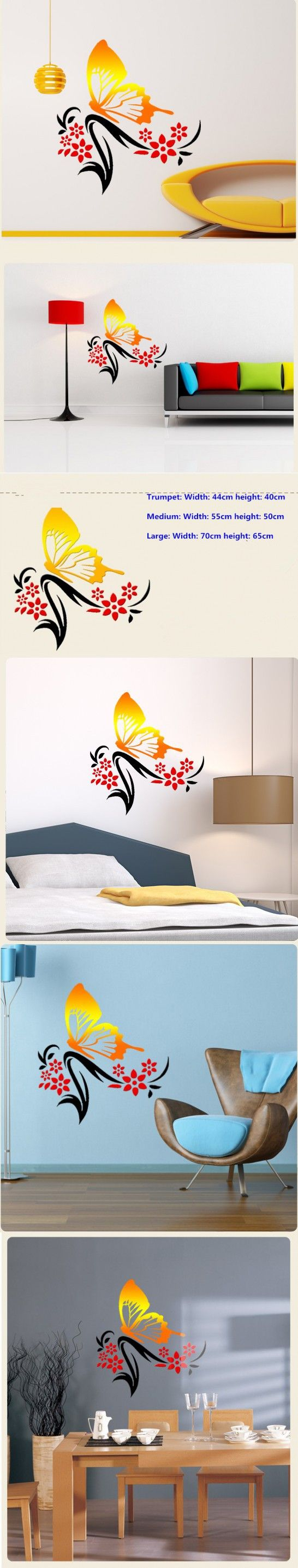 Wall decal new york letter frame cheap stickers world discount - Diy Creative Wall Stickers Butterfly Flower Minimalist Bedroom Bedside Background Wall Living Room Decoration