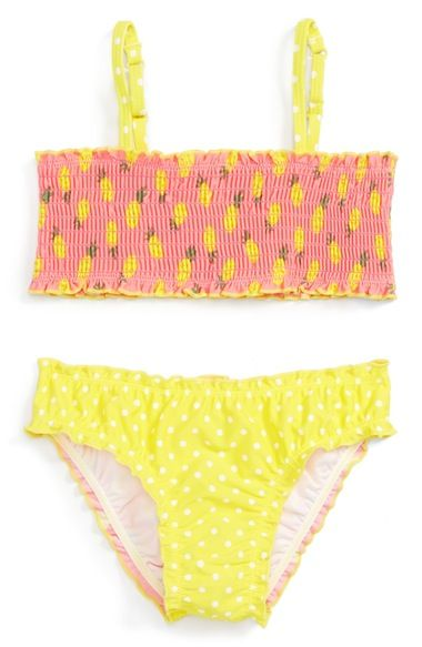 Pineapple print & polka dots make this two-piece swimsuit perfect for sunny days