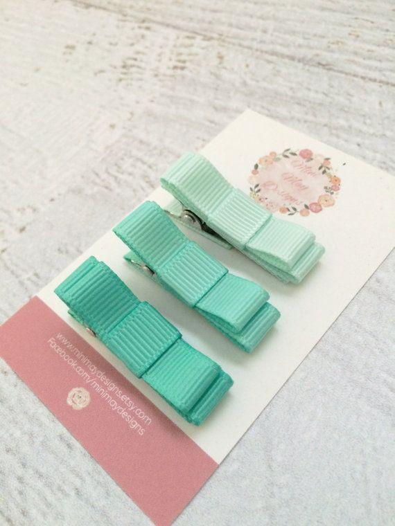 Girl's Hair Bows  Mint Hair Bows  Ribbon Hair by MiniMayDesigns
