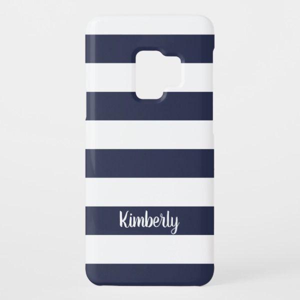 Chic Navy Blue Bold Stripe Pattern Custom Monogram Case Mate Samsung Galaxy Case Zazzle Com Monogram Case Stripes Pattern Bold Stripes