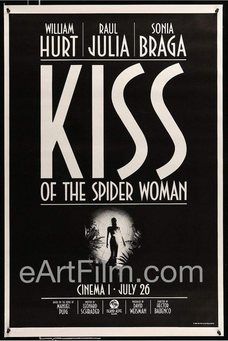 Kiss of the Spider Woman-director Hector Babenco's psychological, crime, prison, sex drama starring William Hurt-Raul Julia-Sonia Braga-Jose Lewgoy-Milton Goncalves- Denise Dummont. Poster artwork by